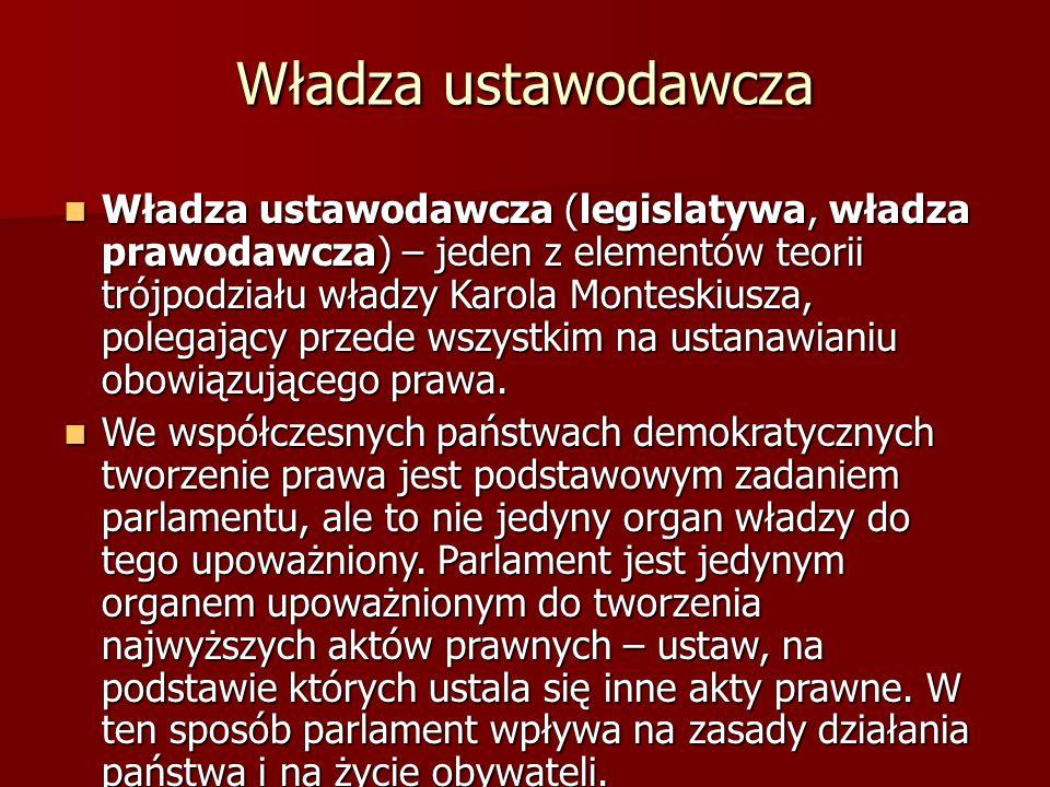 Władza ustawodawcza Władza ustawodawcza (legislatywa, władza prawodawcza) – jeden z elementów teorii trójpodziału władzy Karola Monteskiusza, polegają