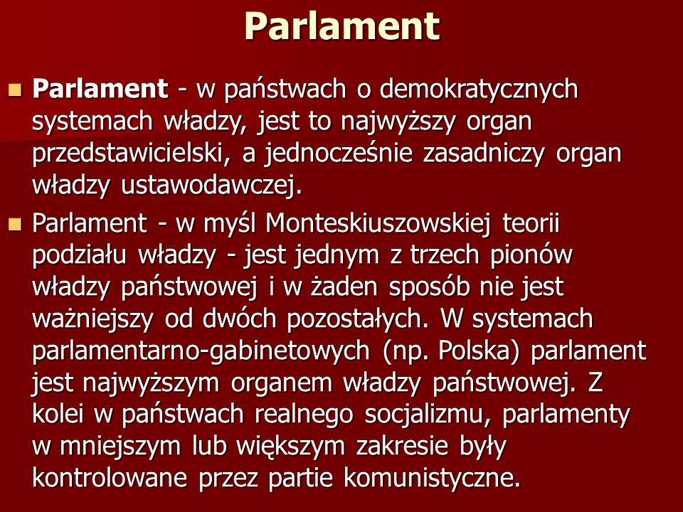 Parlament Parlament - w państwach o demokratycznych systemach władzy, jest to najwyższy organ przedstawicielski, a jednocześnie zasadniczy organ władz