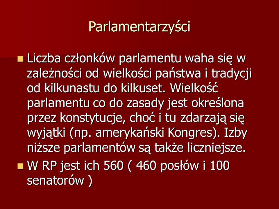 Parlamentarzyści Liczba członków parlamentu waha się w zależności od wielkości państwa i tradycji od kilkunastu do kilkuset. Wielkość parlamentu co do