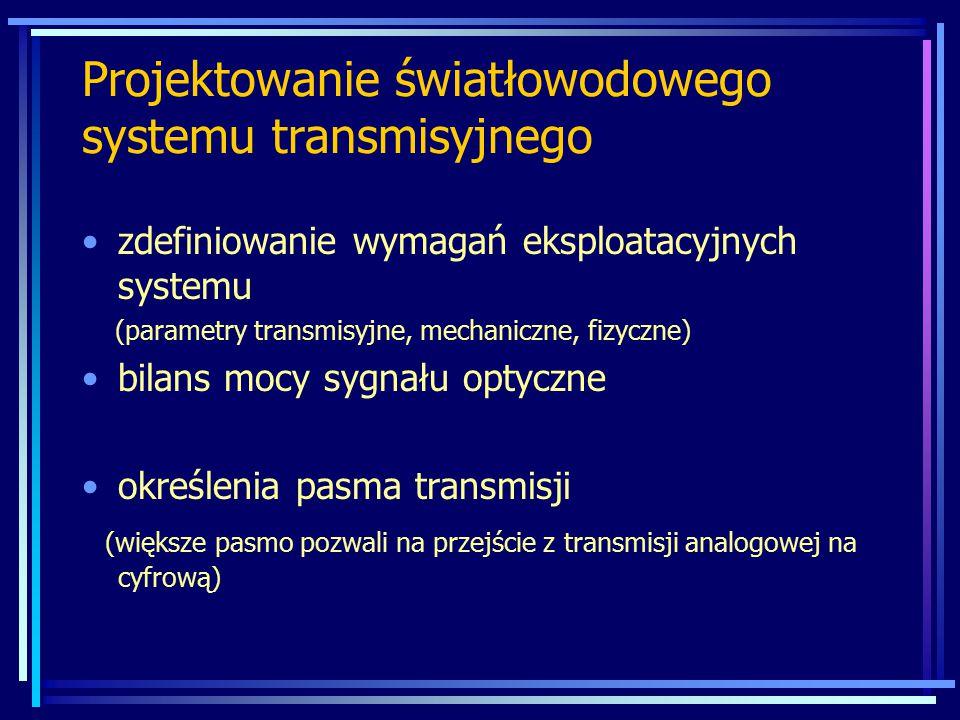 zdefiniowanie wymagań eksploatacyjnych systemu (parametry transmisyjne, mechaniczne, fizyczne) bilans mocy sygnału optyczne określenia pasma transmisj