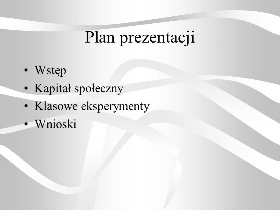 Plan prezentacji Wstęp Kapitał społeczny Klasowe eksperymenty Wnioski