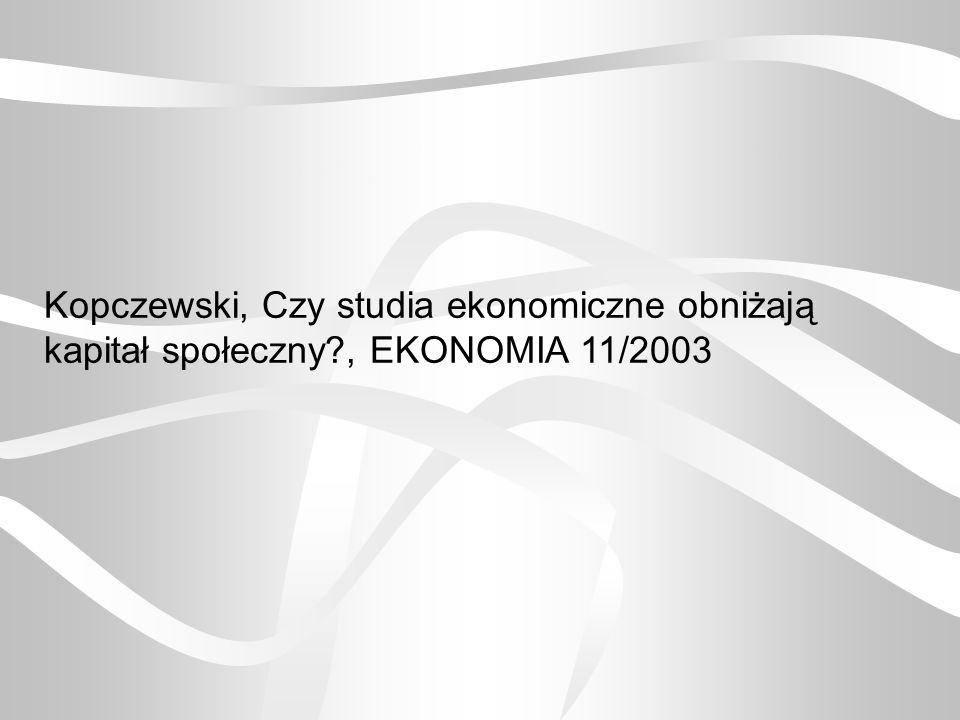 Kopczewski, Czy studia ekonomiczne obniżają kapitał społeczny?, EKONOMIA 11/2003