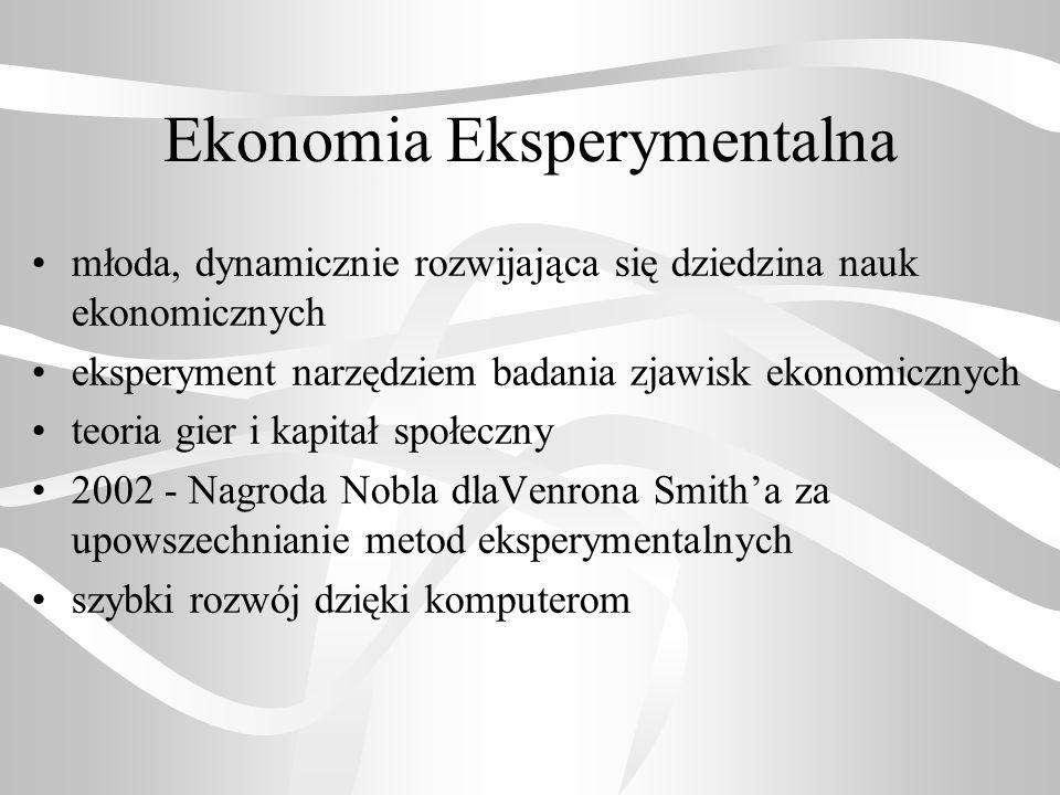 Ekonomia Eksperymentalna młoda, dynamicznie rozwijająca się dziedzina nauk ekonomicznych eksperyment narzędziem badania zjawisk ekonomicznych teoria g