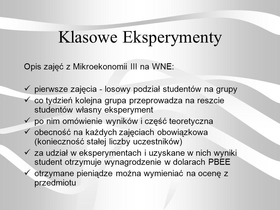 Klasowe Eksperymenty Opis zajęć z Mikroekonomii III na WNE: pierwsze zajęcia - losowy podział studentów na grupy co tydzień kolejna grupa przeprowadza