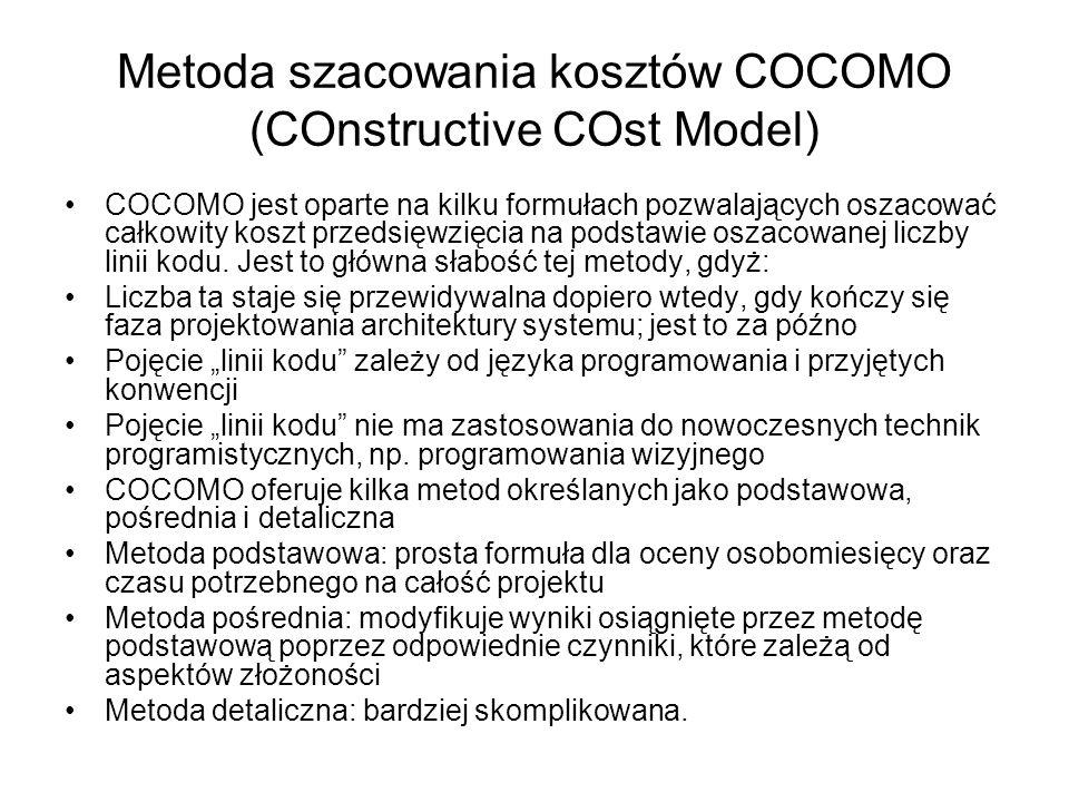 Metoda szacowania kosztów COCOMO (COnstructive COst Model) COCOMO jest oparte na kilku formułach pozwalających oszacować całkowity koszt przedsięwzięc