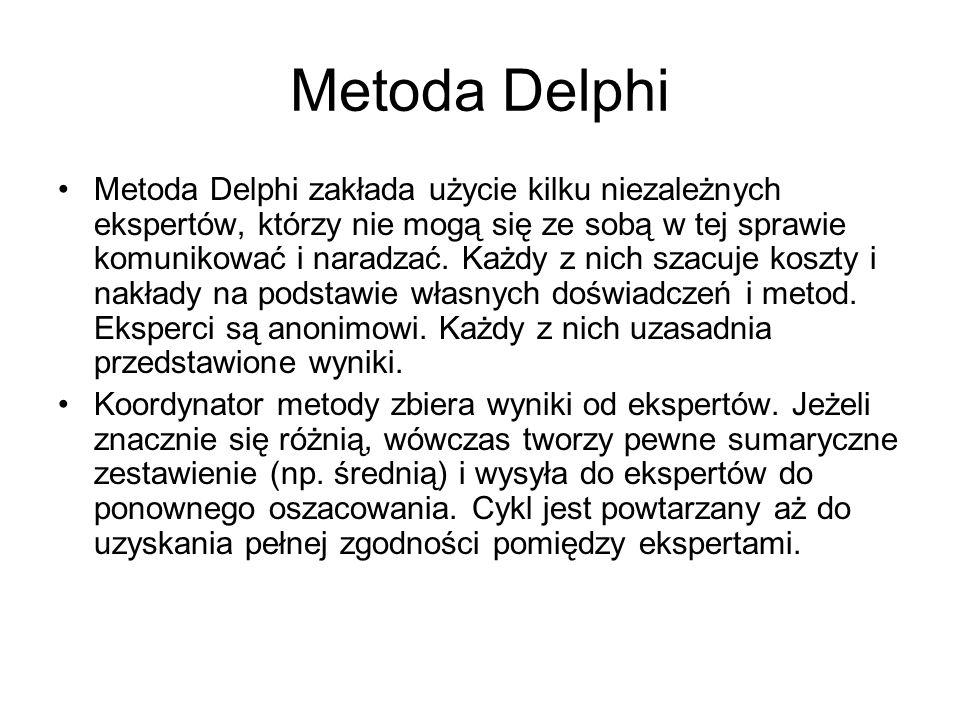 Metoda Delphi Metoda Delphi zakłada użycie kilku niezależnych ekspertów, którzy nie mogą się ze sobą w tej sprawie komunikować i naradzać. Każdy z nic