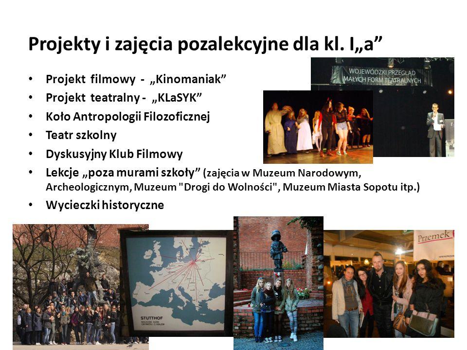 """Projekty i zajęcia pozalekcyjne dla kl. I""""a"""" Projekt filmowy - """"Kinomaniak"""" Projekt teatralny - """"KLaSYK"""" Koło Antropologii Filozoficznej Teatr szkolny"""
