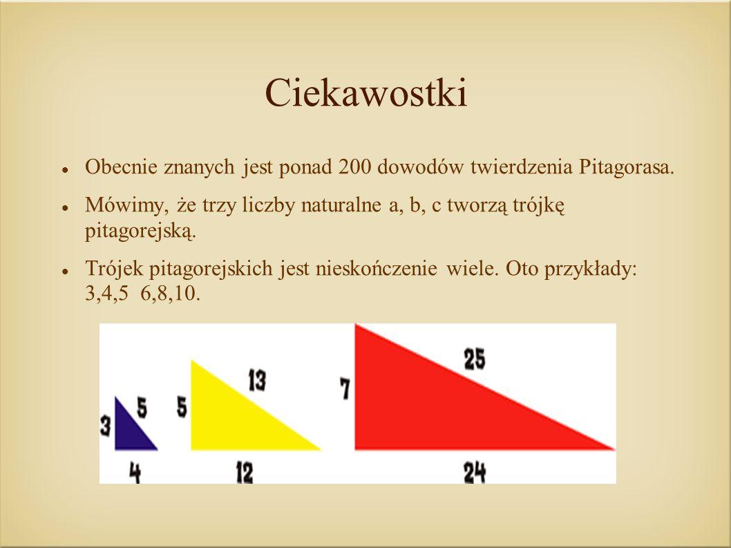 Ciekawostki Obecnie znanych jest ponad 200 dowodów twierdzenia Pitagorasa. Mówimy, że trzy liczby naturalne a, b, c tworzą trójkę pitagorejską. Trójek