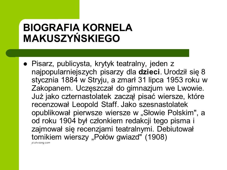 BIOGRAFIA KORNELA MAKUSZYŃSKIEGO Pisarz, publicysta, krytyk teatralny, jeden z najpopularniejszych pisarzy dla dzieci. Urodził się 8 stycznia 1884 w S