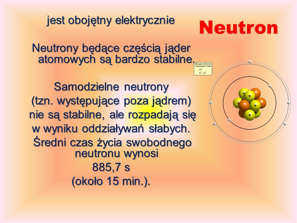 Neutron jest obojętny elektrycznie Neutrony będące częścią jąder atomowych są bardzo stabilne.