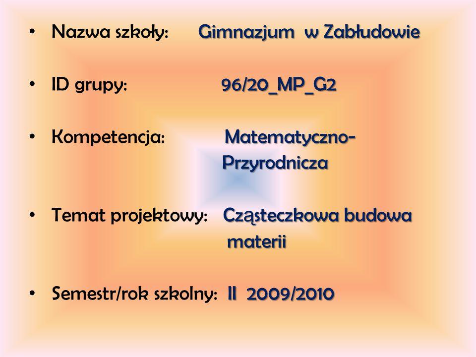 Gimnazjum w Zabłudowie Nazwa szkoły: Gimnazjum w Zabłudowie 96/20_MP_G2 ID grupy: 96/20_MP_G2 Matematyczno- Kompetencja: Matematyczno- Przyrodnicza Przyrodnicza Cz ą steczkowa budowa Temat projektowy: Cz ą steczkowa budowa materii materii II 2009/2010 Semestr/rok szkolny: II 2009/2010