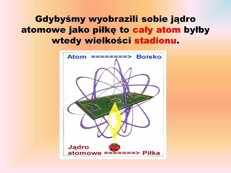 Gdybyśmy wyobrazili sobie jądro atomowe jako piłkę to cały atom byłby wtedy wielkości stadionu.