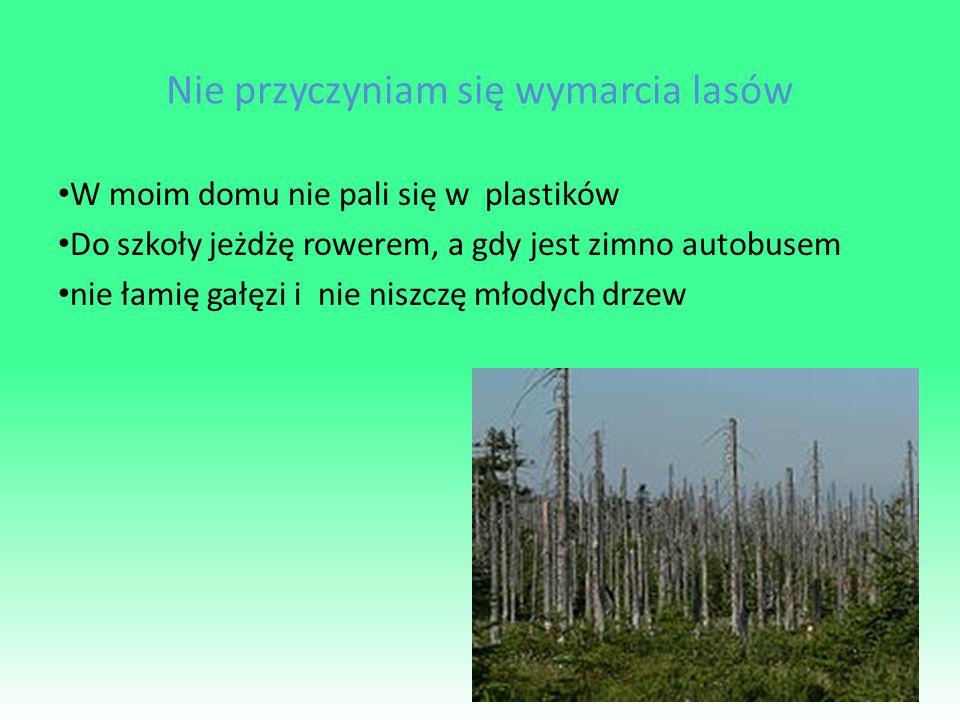 Nie przyczyniam się wymarcia lasów W moim domu nie pali się w plastików Do szkoły jeżdżę rowerem, a gdy jest zimno autobusem nie łamię gałęzi i nie niszczę młodych drzew