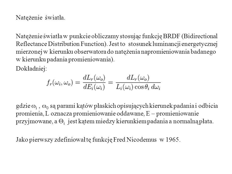 Natężenie światła. Natężenie światła w punkcie obliczamy stosując funkcję BRDF (Bidirectional Reflectance Distribution Function). Jest to stosunek lum