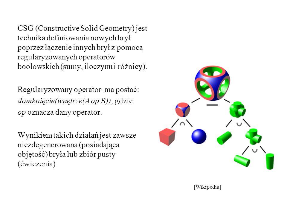 CSG (Constructive Solid Geometry) jest technika definiowania nowych brył poprzez łączenie innych brył z pomocą regularyzowanych operatorów boolowskich
