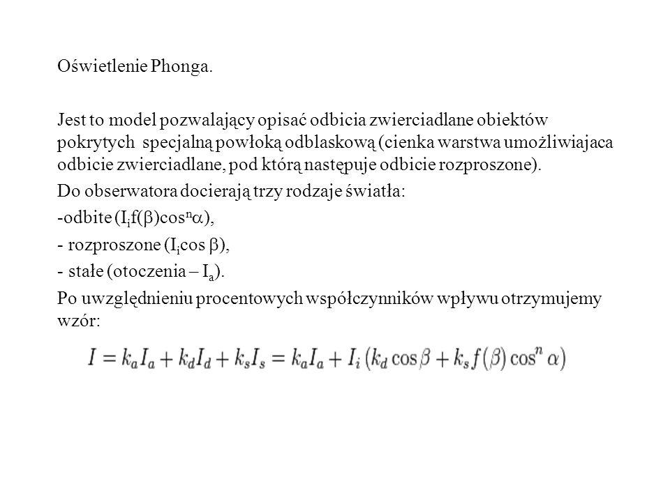 Oświetlenie Phonga. Jest to model pozwalający opisać odbicia zwierciadlane obiektów pokrytych specjalną powłoką odblaskową (cienka warstwa umożliwiaja
