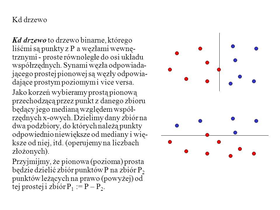 Kd drzewo Kd drzewo to drzewo binarne, którego liśćmi są punkty z P a węzłami wewnę- trznymi - proste równoległe do osi układu współrzędnych. Synami w