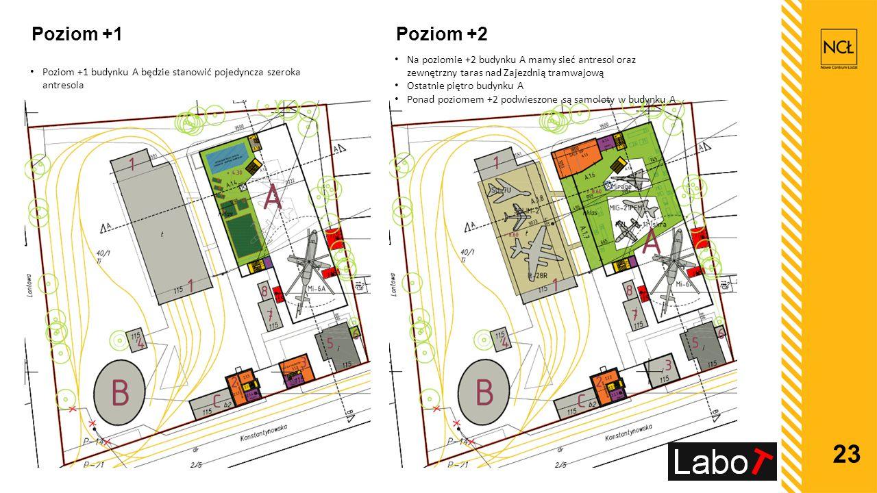 23 Poziom +1 Poziom +1 budynku A będzie stanowić pojedyncza szeroka antresola Poziom +2 Na poziomie +2 budynku A mamy sieć antresol oraz zewnętrzny ta
