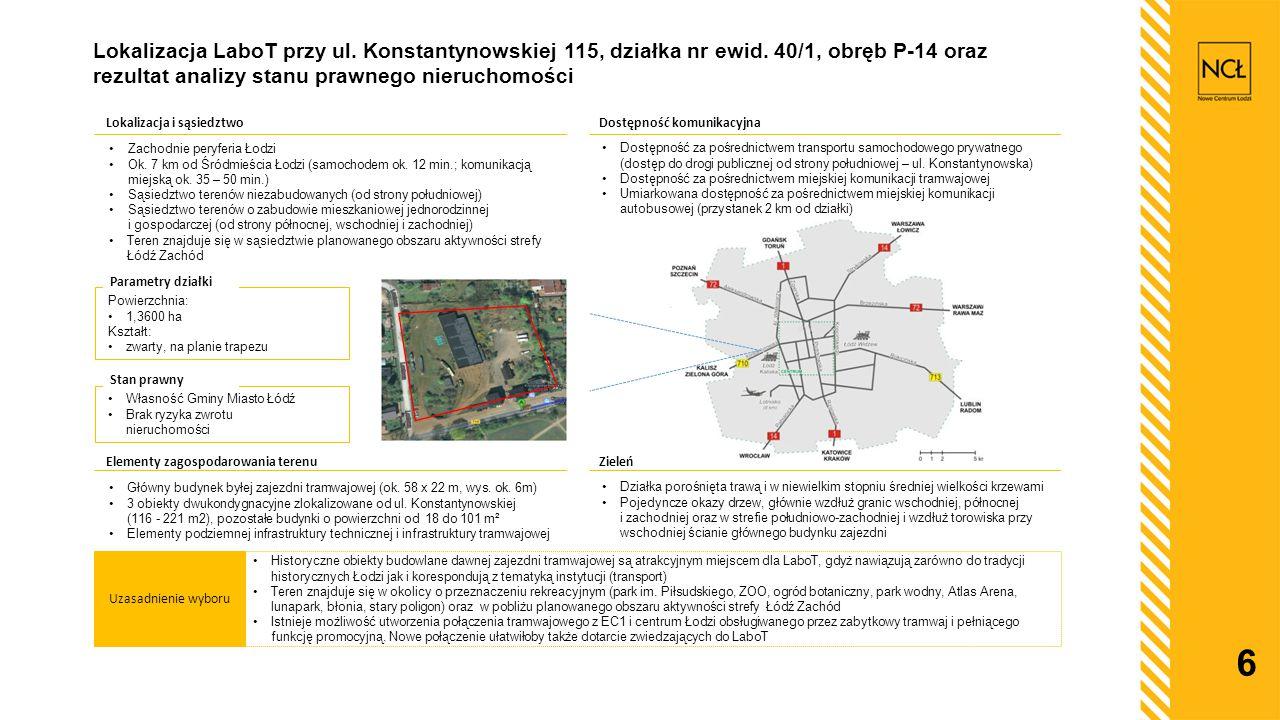 6 Lokalizacja LaboT przy ul. Konstantynowskiej 115, działka nr ewid. 40/1, obręb P-14 oraz rezultat analizy stanu prawnego nieruchomości Uzasadnienie