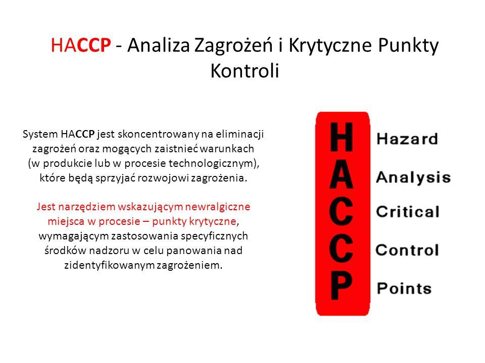 System HACCP jest skoncentrowany na eliminacji zagrożeń oraz mogących zaistnieć warunkach (w produkcie lub w procesie technologicznym), które będą spr