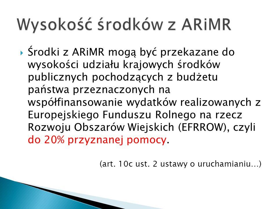  Środki z ARiMR mogą być przekazane do wysokości udziału krajowych środków publicznych pochodzących z budżetu państwa przeznaczonych na współfinansowanie wydatków realizowanych z Europejskiego Funduszu Rolnego na rzecz Rozwoju Obszarów Wiejskich (EFRROW), czyli do 20% przyznanej pomocy.