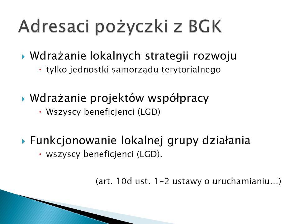  Wdrażanie lokalnych strategii rozwoju  tylko jednostki samorządu terytorialnego  Wdrażanie projektów współpracy  Wszyscy beneficjenci (LGD)  Funkcjonowanie lokalnej grupy działania  wszyscy beneficjenci (LGD).