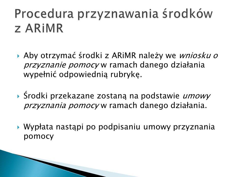  Aby otrzymać środki z ARiMR należy we wniosku o przyznanie pomocy w ramach danego działania wypełnić odpowiednią rubrykę.