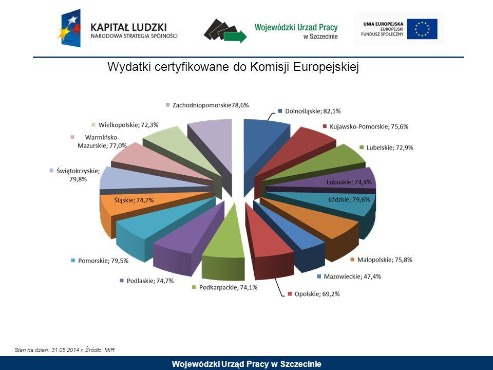 Wojewódzki Urząd Pracy w Szczecinie Wydatki certyfikowane do Komisji Europejskiej Stan na dzień: 31.05.2014 r.