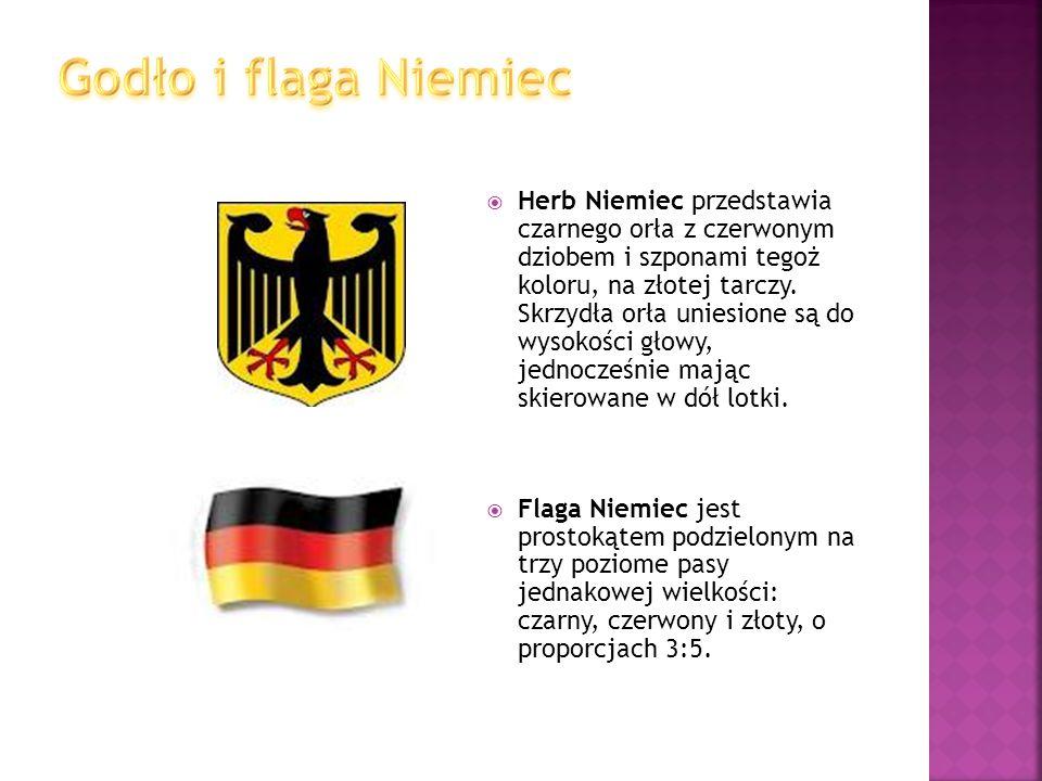  Herb Niemiec przedstawia czarnego orła z czerwonym dziobem i szponami tegoż koloru, na złotej tarczy. Skrzydła orła uniesione są do wysokości głowy,