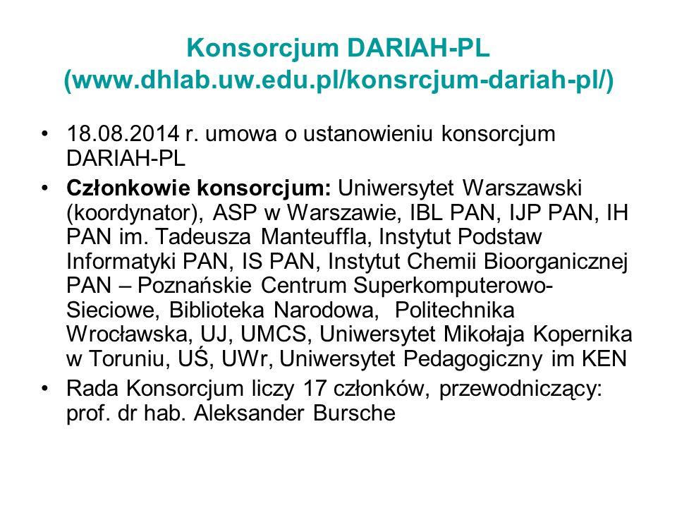 Konsorcjum DARIAH-PL (www.dhlab.uw.edu.pl/konsrcjum-dariah-pl/) 18.08.2014 r. umowa o ustanowieniu konsorcjum DARIAH-PL Członkowie konsorcjum: Uniwers