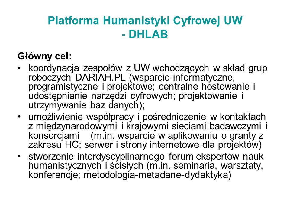 Platforma Humanistyki Cyfrowej UW - DHLAB Główny cel: koordynacja zespołów z UW wchodzących w skład grup roboczych DARIAH.PL (wsparcie informatyczne,