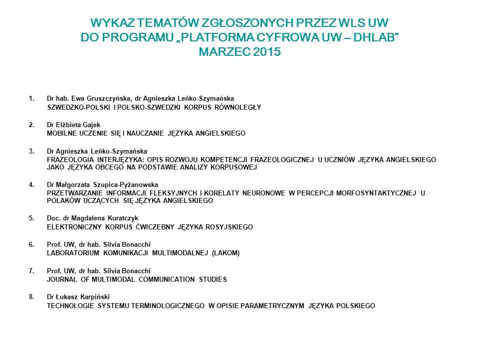"""WYKAZ TEMATÓW ZGŁOSZONYCH PRZEZ WLS UW DO PROGRAMU """"PLATFORMA CYFROWA UW – DHLAB"""" MARZEC 2015 1.Dr hab. Ewa Gruszczyńska, dr Agnieszka Leńko-Szymańska"""