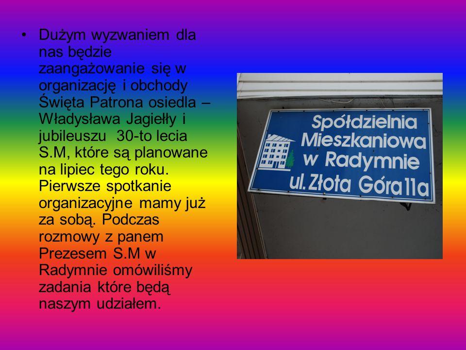 Dużym wyzwaniem dla nas będzie zaangażowanie się w organizację i obchody Święta Patrona osiedla – Władysława Jagiełły i jubileuszu 30-to lecia S.M, które są planowane na lipiec tego roku.