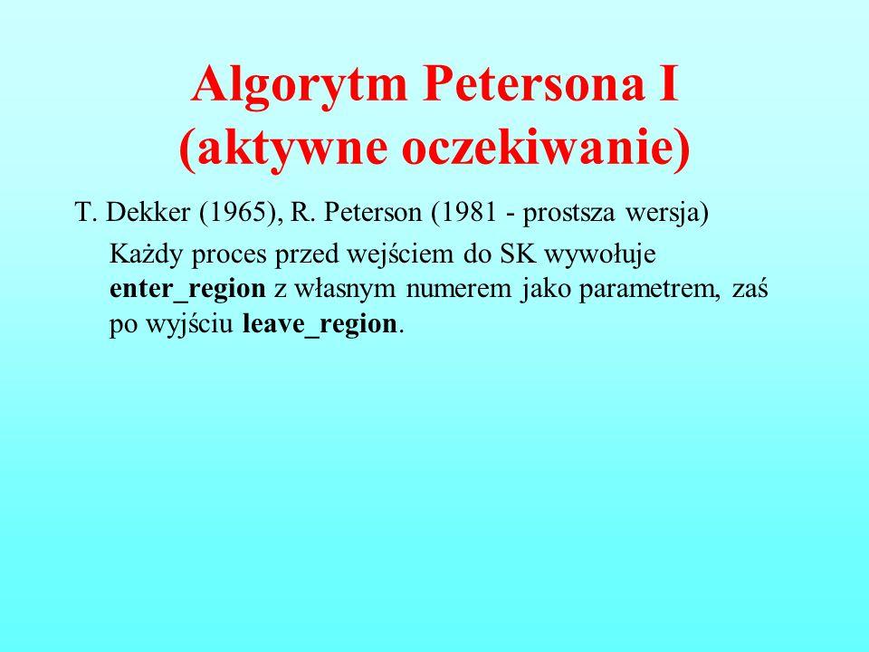 Algorytm Petersona I (aktywne oczekiwanie) T. Dekker (1965), R. Peterson (1981 - prostsza wersja) Każdy proces przed wejściem do SK wywołuje enter_reg