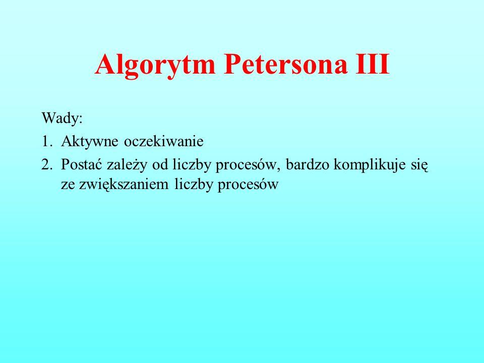 Algorytm Petersona III Wady: 1.Aktywne oczekiwanie 2.Postać zależy od liczby procesów, bardzo komplikuje się ze zwiększaniem liczby procesów