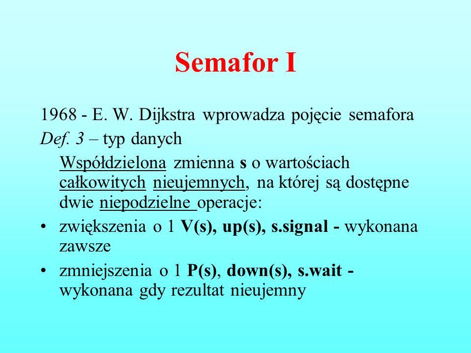 Semafor I 1968 - E. W. Dijkstra wprowadza pojęcie semafora Def. 3 – typ danych Współdzielona zmienna s o wartościach całkowitych nieujemnych, na które