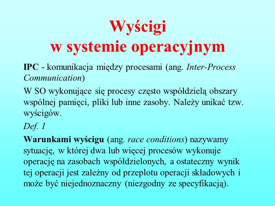 Wyścigi w systemie operacyjnym IPC - komunikacja między procesami (ang. Inter-Process Communication) W SO wykonujące się procesy często współdzielą ob