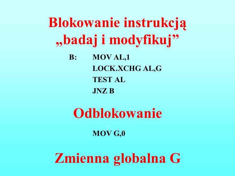 """Blokowanie instrukcją """"badaj i modyfikuj"""" B:MOV AL,1 LOCK.XCHG AL,G TEST AL JNZ B Odblokowanie MOV G,0 Zmienna globalna G"""