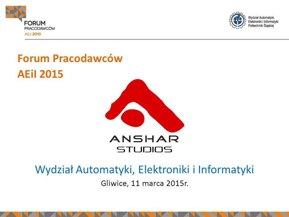 Forum Pracodawców AEiI 2015 Wydział Automatyki, Elektroniki i Informatyki Gliwice, 11 marca 2015r.