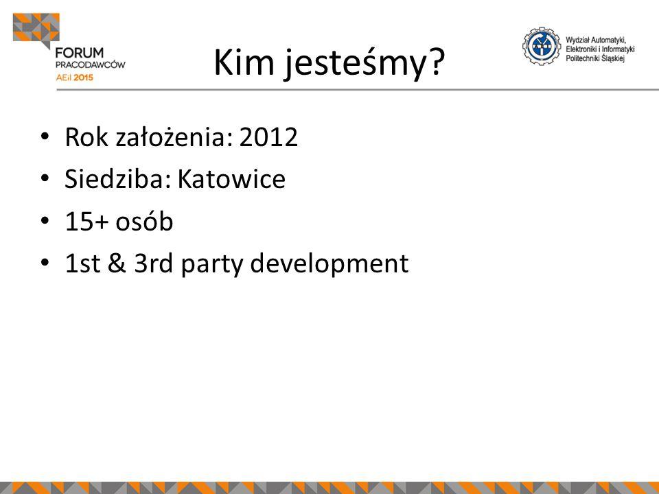 Kim jesteśmy? Rok założenia: 2012 Siedziba: Katowice 15+ osób 1st & 3rd party development