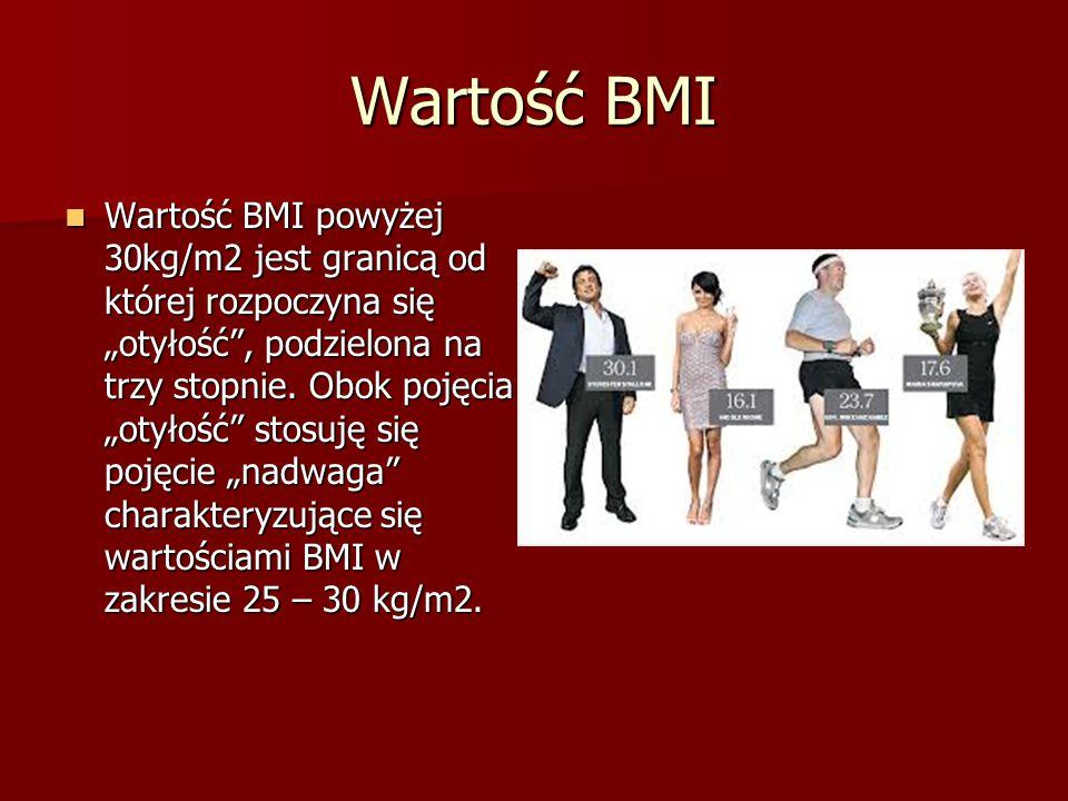 """Wartość BMI Wartość BMI powyżej 30kg/m2 jest granicą od której rozpoczyna się """"otyłość"""", podzielona na trzy stopnie. Obok pojęcia """"otyłość"""" stosuję si"""