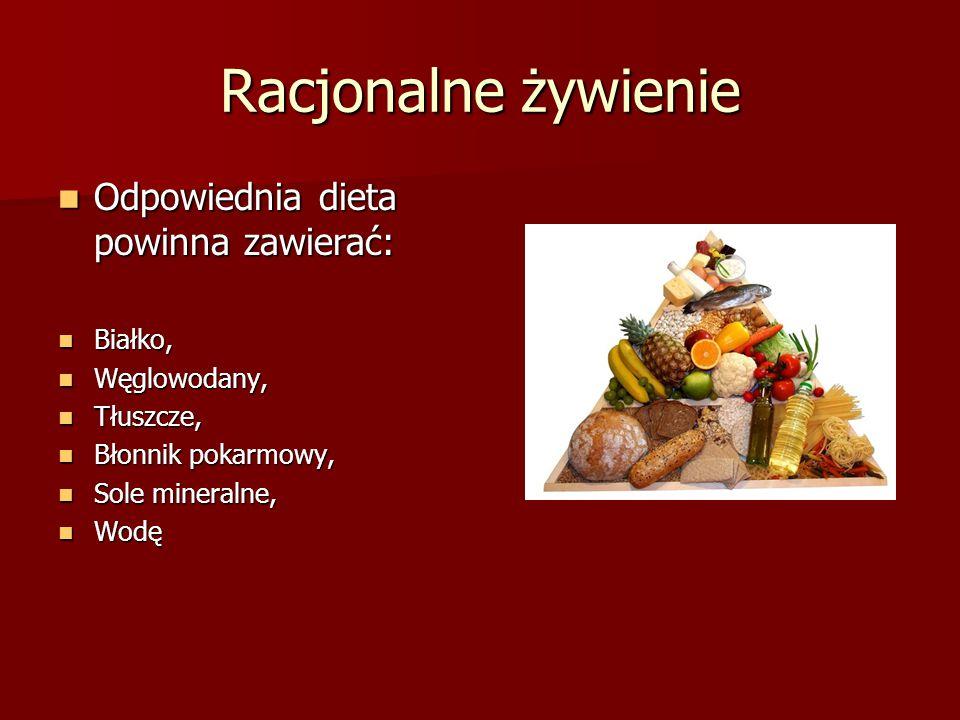 Racjonalne żywienie Odpowiednia dieta powinna zawierać: Odpowiednia dieta powinna zawierać: Białko, Białko, Węglowodany, Węglowodany, Tłuszcze, Tłuszc