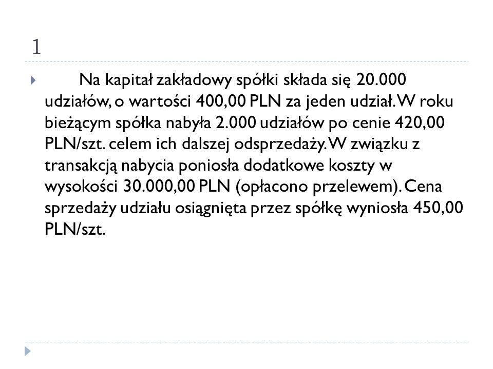1  Na kapitał zakładowy spółki składa się 20.000 udziałów, o wartości 400,00 PLN za jeden udział. W roku bieżącym spółka nabyła 2.000 udziałów po cen