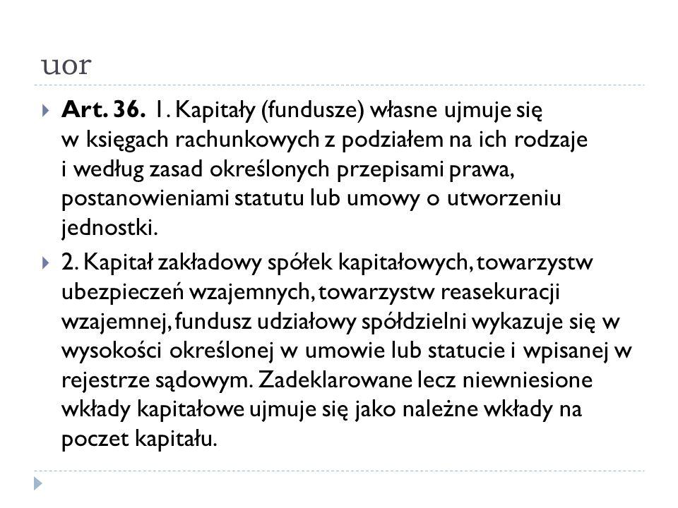 uor  Art. 36. 1. Kapitały (fundusze) własne ujmuje się w księgach rachunkowych z podziałem na ich rodzaje i według zasad określonych przepisami prawa