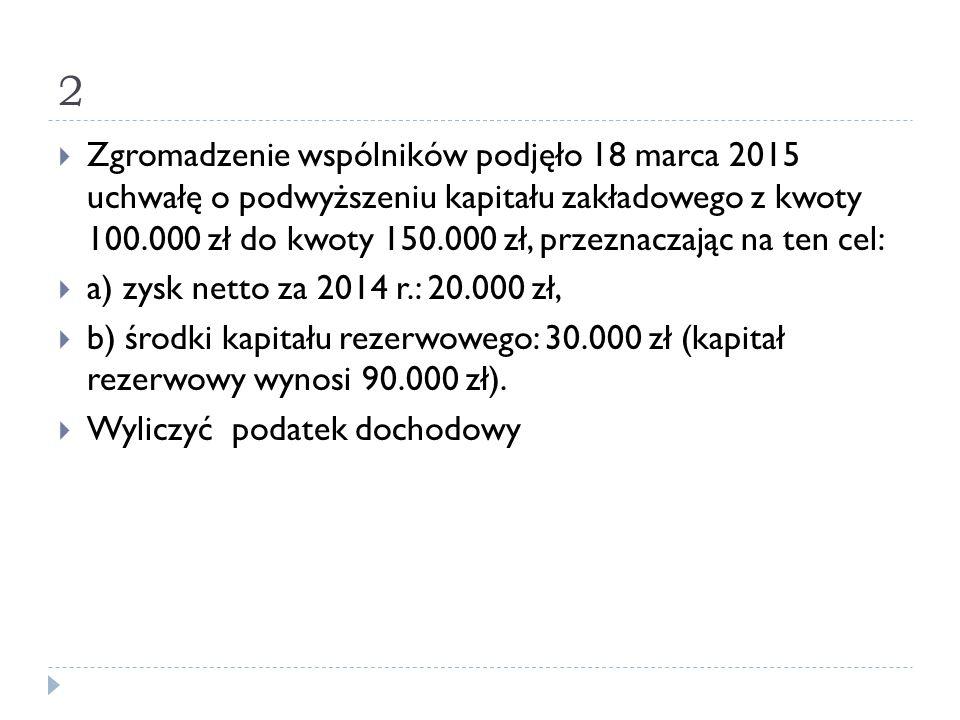 2  Zgromadzenie wspólników podjęło 18 marca 2015 uchwałę o podwyższeniu kapitału zakładowego z kwoty 100.000 zł do kwoty 150.000 zł, przeznaczając na