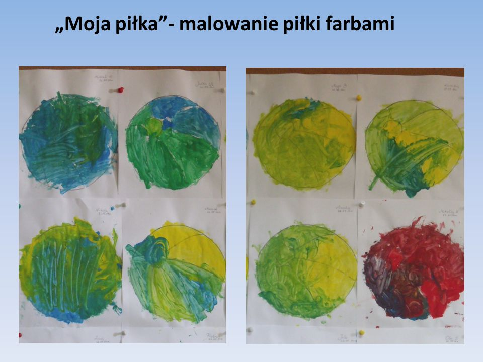 """""""Moja piłka""""- malowanie piłki farbami"""