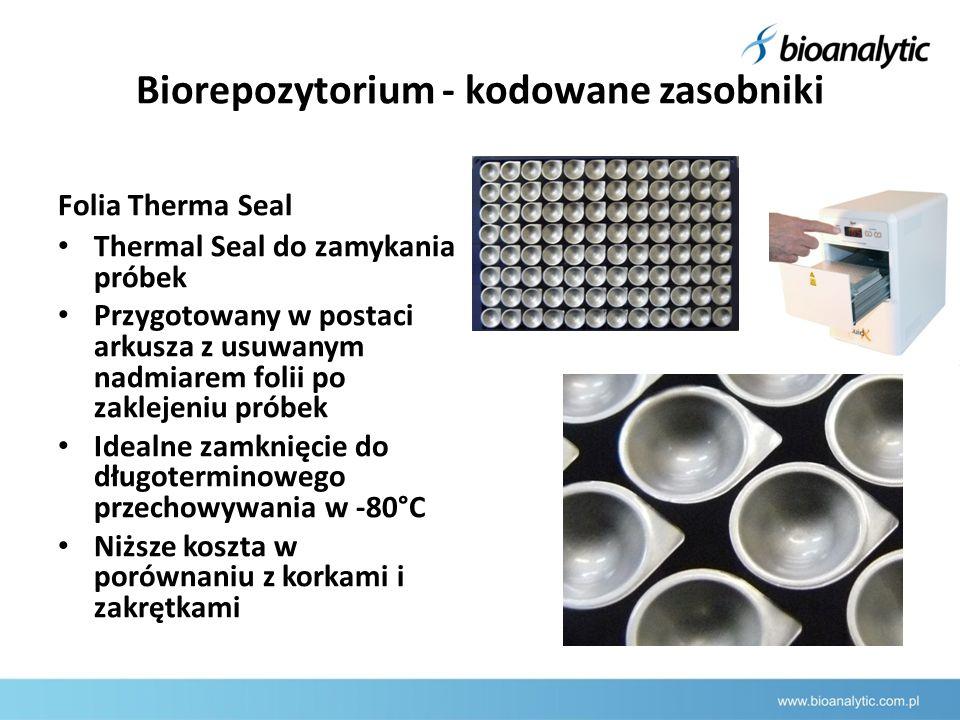 Biorepozytorium - kodowane zasobniki Folia Therma Seal Thermal Seal do zamykania próbek Przygotowany w postaci arkusza z usuwanym nadmiarem folii po zaklejeniu próbek Idealne zamknięcie do długoterminowego przechowywania w -80°C Niższe koszta w porównaniu z korkami i zakrętkami