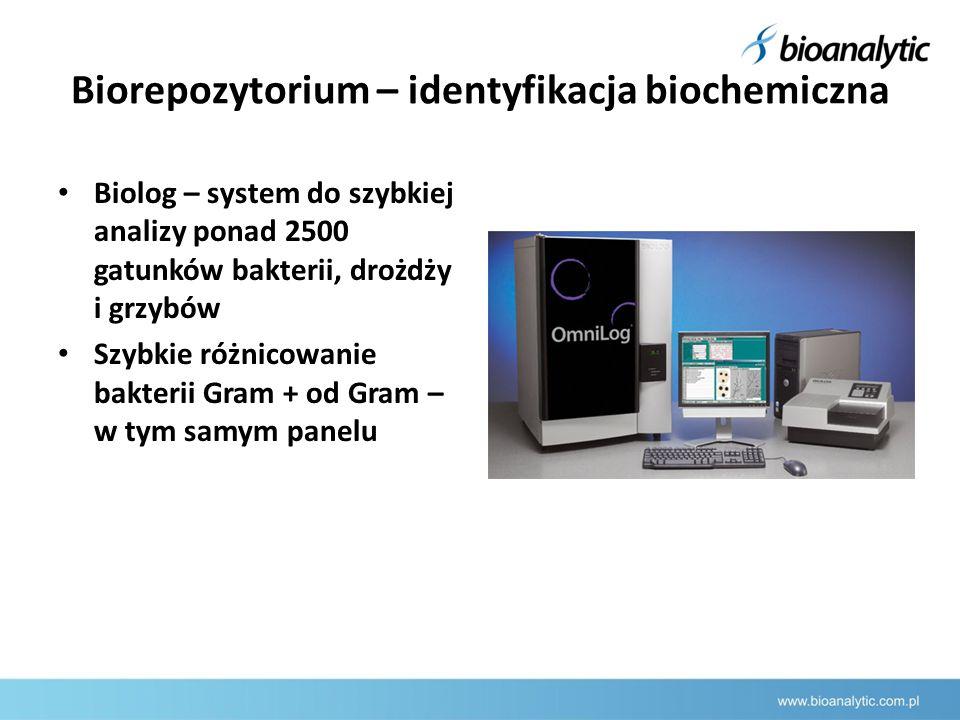 Biorepozytorium – identyfikacja biochemiczna Biolog – system do szybkiej analizy ponad 2500 gatunków bakterii, drożdży i grzybów Szybkie różnicowanie bakterii Gram + od Gram – w tym samym panelu