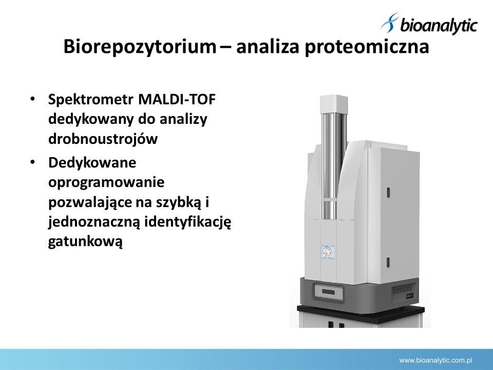 Biorepozytorium – analiza proteomiczna Spektrometr MALDI-TOF dedykowany do analizy drobnoustrojów Dedykowane oprogramowanie pozwalające na szybką i jednoznaczną identyfikację gatunkową