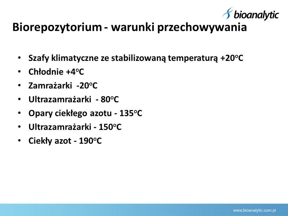 Biorepozytorium - warunki przechowywania Szafy klimatyczne ze stabilizowaną temperaturą +20 o C Chłodnie +4 o C Zamrażarki -20 o C Ultrazamrażarki - 80 o C Opary ciekłego azotu - 135 o C Ultrazamrażarki - 150 o C Ciekły azot - 190 o C